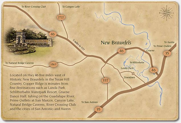 copper ridge New Braunfels map River Hills Custom Homes